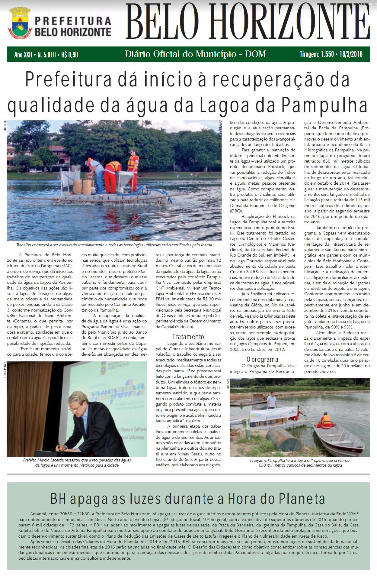 Prefeitura dá início à recuperação da qualidade da água da Lagoa da Pampulha, Enzilimp