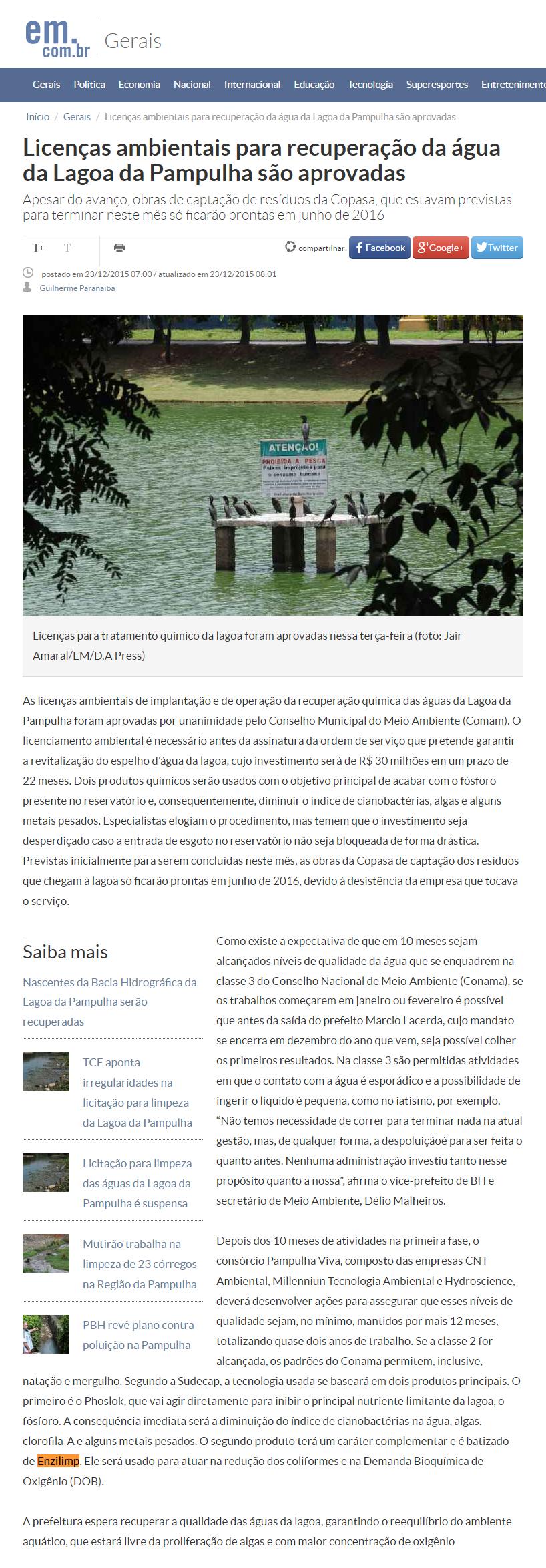 Licenças ambientais para recuperação da água da Lagoa da Pampulha são aprovadas, Enzilimp