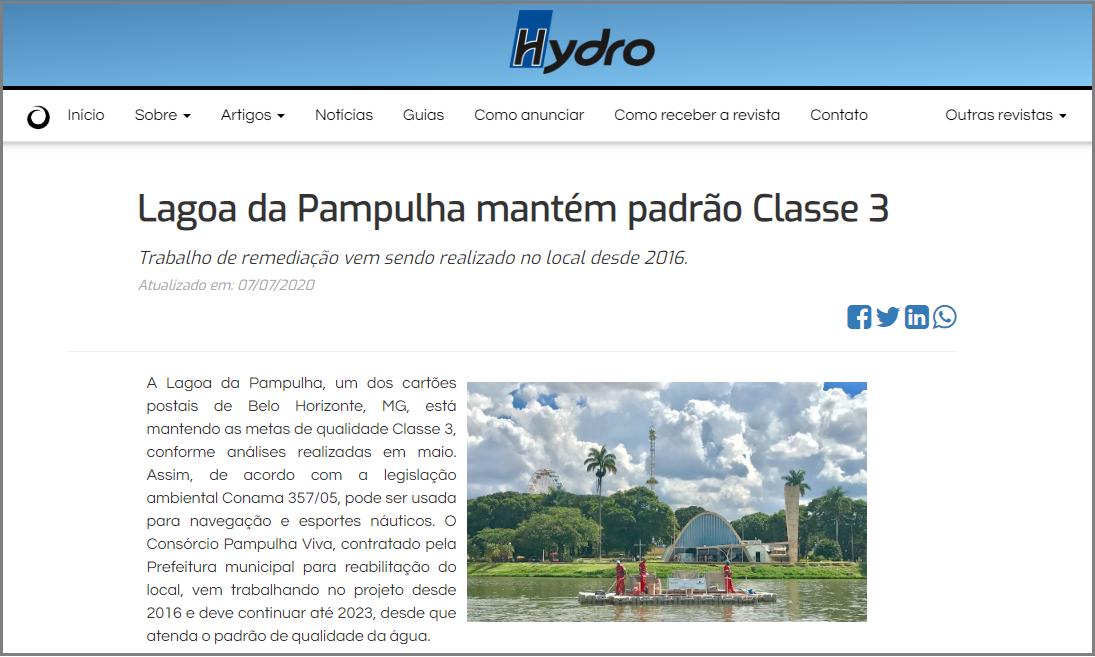 Aplicação do Enzilimp na Lagoa da Pampulha foi destaque em revista do segmento, Enzilimp