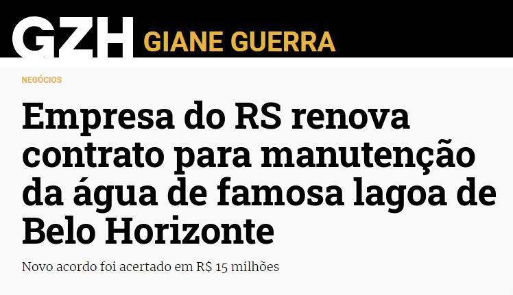 Empresa do RS renova contrato para manutenção da água de famosa lagoa de Belo Horizonte, Enzilimp